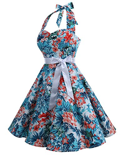 Bbonlinedress 1950er Neckholder Vintage Retro Rockabilly Cocktail Party Kleider Blue Red Flower