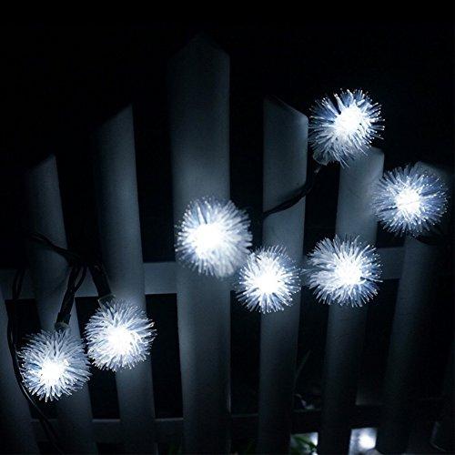 SIWEN Solar-20-LED-Streifen Lichter, Puffer Ball Shaped Solar Ball Laterne, Weihnachtsbeleuchtung Garten Lichter, 1Pack,White