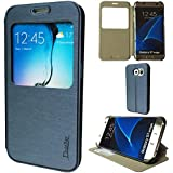 DodoBay® Samsung GALAXY S7 Edge Housse Luxe Ultra Mince Slim Flip Folio View Window PU Cuir Coque Étui Portefeuille Case Cover Wallet Stand pour Samsung Galaxy S7 Edge - Bleu Marine