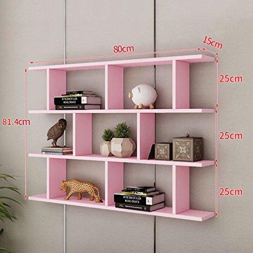 CLOTHES UK- Kreative Wandhalterung Bücherregal Wohnzimmer Moderne Einfache Wand Bücherregal Schrankwand Regale 80x81,4x15 cm Regal ( Farbe : Pink ) (Regal Schrankwand)