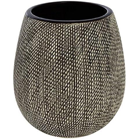 Portaspazzolino in ceramica grigia linea