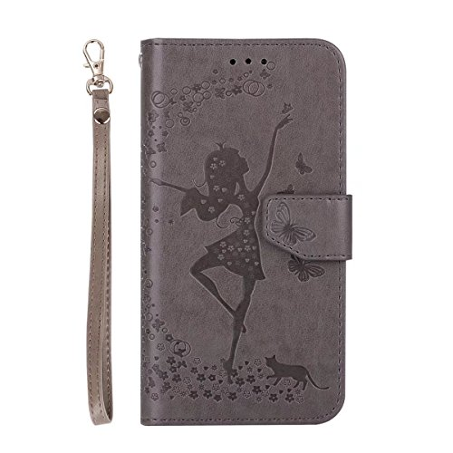 Abnehmbare 2 in 1 Crazy Horse Texture PU Ledertasche, Fairy Girl Embossed Pattern Flip Stand Case Tasche mit Lanyard & Card Cash Slots für Samsung Galaxy J320 ( Color : Rosegold ) Gray