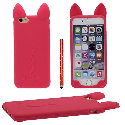 iPhone 6S Coque de protection Case Joli Couleur Charmant 3D Animal Chat Forme Fine Poids léger Doux Silicone Étui pour Apple iPhone 6 6S 4.7 inch X 1 stylet rouge