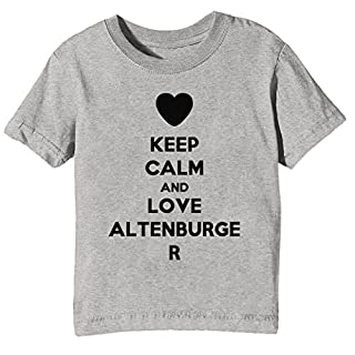 Keep Calm and Love Altenburger Kids Unisex Boys Girls T-Shirt Grey Tee Crew Neck Short Sleeves X-Small Size XS
