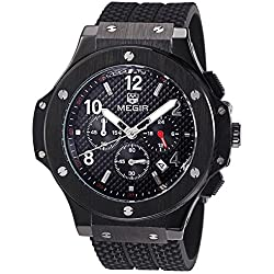 Megir Men's Wrist Watch Chronograph Boss Big Bang Chronograph Analogue Quartz Black 3002