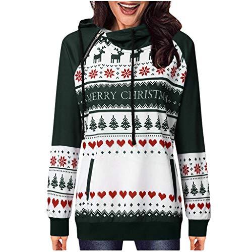 Sweatshirts Weihnachten Damen Pullover Polyester Lange Ärmel Casual Outdoor Outwear Mantel Herbst Winter Hoodie Sweatjacke Frauen Oberbekleidung Wintermantel Kapuzenpullover (Grün.L) -