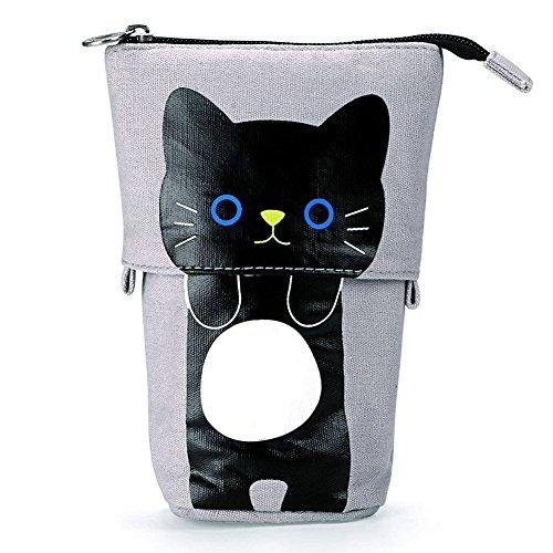 Cute Cartoon Kawaii Cat Pencil Case, Telescopic Transformer Stand up Pencil Bag Pen Pouch Stationery Boys Girls School Supplies (Black Cat) (Kids Make-up Cat)