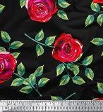Soimoi Schwarz Baumwolle Ente Stoff Blätter & Rose Blumen-