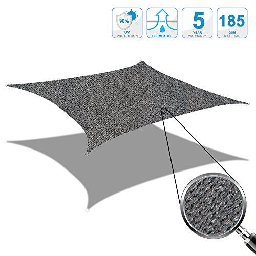 Cool Area Toldo vela de sombra rectangular 2.5 x 3 metros protección rayos UV, resistente y transpirable (varios colores y medidas), Color grafito