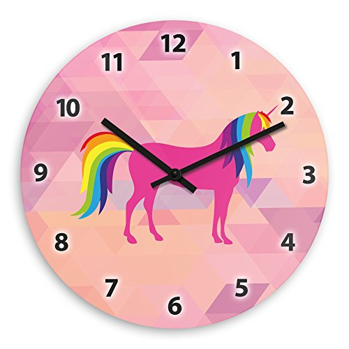 Wanduhr mit schönem Einhorn-Motiv für Mädchen | Kinderzimmer-Uhr | Kinder-Uhr
