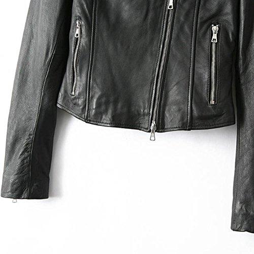 SaiDeng Femme Veste En Cuir Faux Leather Jacquette Leather Jacket Veste Biker Blouson Noir