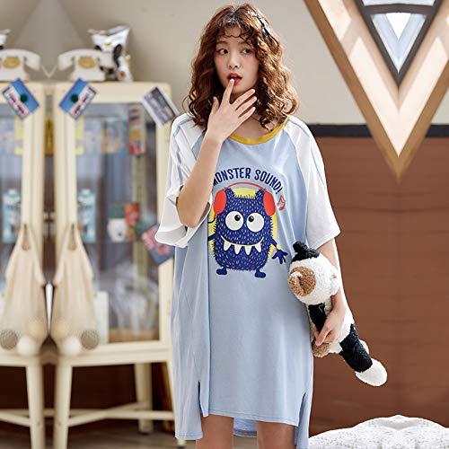 TYFEI Sommerherbstbaumwollpyjamas für Frauenfreizeit lösen langes Druckdamen-Nachthemdmädchen Outwear Parteinachthemd