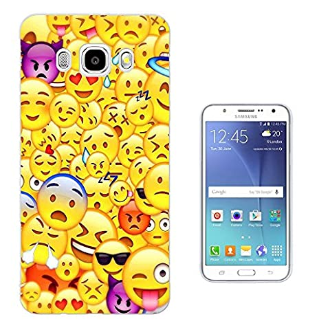 C0889 - Cool Smiley Emoji Collage Heart Eyes Laughing Crying Vampire Cool Sunglasses Design Samsung Galaxy J3 2016 SM-J320F Fashion Trend Protecteur Coque Gel Rubber Silicone protection Case Coque