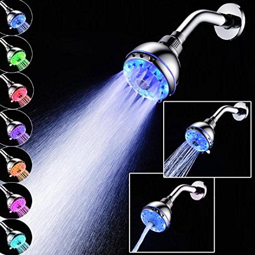 Zarupeng Duschkopf mit LED, Automatische 7 Farben Licht, Chrom, Wasserbad Badezimmer Filtration Dusche Spray mit Filter und Antikalk-Funktion (One Size, B(duschkopf mit stange)) (Niederdruck-farbe)