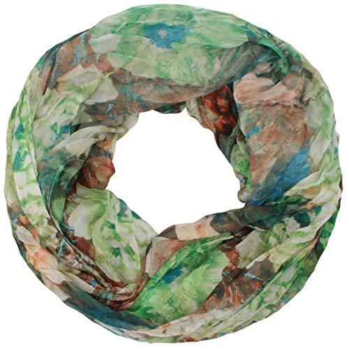 Zarter Sommer Crinkle Loopschal Model: Blume allover angenehm und leicht zu tragen, Damen Rundschal, Schal, Loop, Sommerschal (grün) -