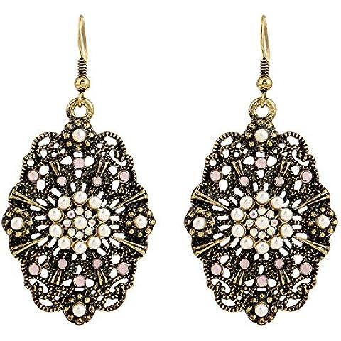 Lureme® tono anti-ottone europeo epoca stile bohemien con cristallo rosa e perla ciondola (02004686)