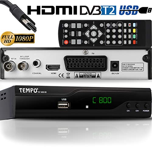 hd-line Tempo 4000 DVB-T2 Receiver - HEVC/H.265 - H.264 / MPEG2 - MPEG4 / 1080i - 1080p Standard (Full HD 1080P, HDMI, SCART, USB 2.0) - Automatische İnstallation Schwarz