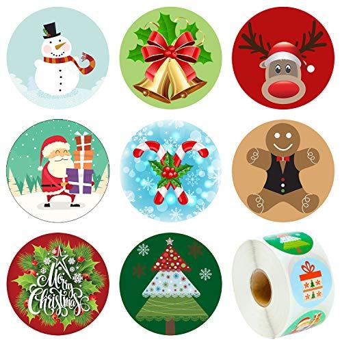 Elcoho assortimento di 600pezzi adesivi di natale vacanza rotolo adesivo babbo pupazzo renna adesivi per feste supplies christmas 1