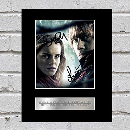 Emma Watson y Rupert Grint firmado foto enmarcada Hermione Granger y Harry Potter Ron Weasley