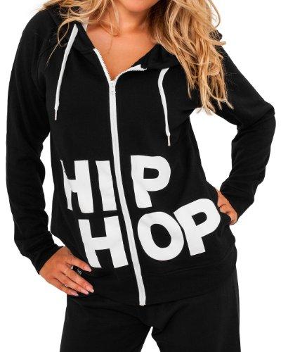 Urban Classics Hip Hop Ziphoodie, Farbe:blk/wht;Größe:M