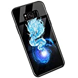 YSIMEE Compatible con Fundas Samsung Galaxy S8 Plus Carcasa Noche Luminoso Vidrio Templado con Encuadrar Silicona Suave TPU Ultra Fino Anti-Choque Anti-arañazos Delgado Noctilucent Case,Dragón