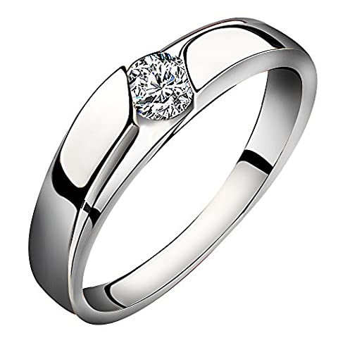 Meixao Women Mens Cubic Zirconia 925 Sterling Silver Anniversary Promise Solitaire Engagement Ring Wedding Band Bridal
