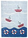 Livone Spielteppich Moderner Teppich Kinderzimmer Kinderteppich Maritim See Schiffe Meer in blau rot Weiss Größe 100 x 150 cm