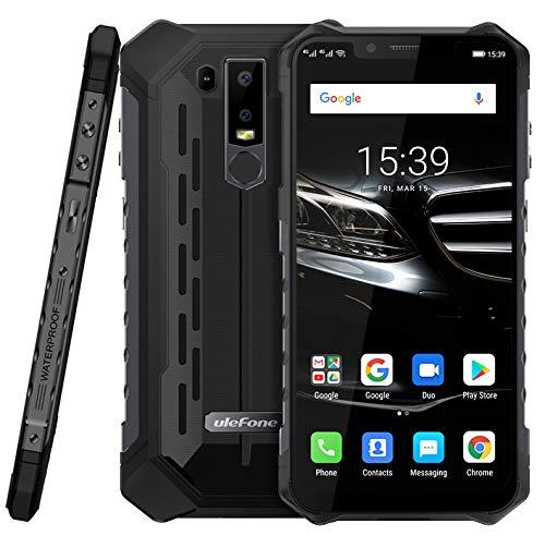 (2019) Ulefone Armor 6E Android 9.0 Robustes Smartphone Ohne Vertrag - Helio P70 Octa-Core Outdoor Handy 4 GB + 64GB,6,2''FHD+Kerbenbildschirm, drahtlose Aufladung/NFC, IP68 wasserdicht Schwarz