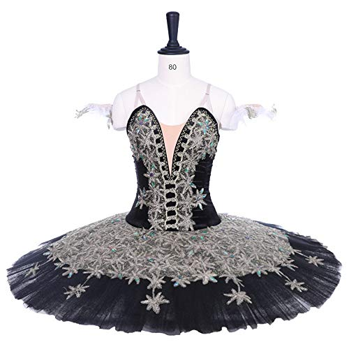 QSEFT White Swan Lake Ballett Tutu Kostüme Ballett Tutu Professional Child/Adult Das Schneekönigin Ballett Kostüm,Black,Adultsizem