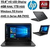 HP 15.6 Inch HD Flagship High Performance Laptop PC  AMD A-Series A8-7410 Quad-Core  Radeon R2 Graphics  2.20 GHz  4GB DDR3  1TB HDD  DVDRW  WIFI  Bluetooth  Windows 10 Home
