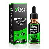 VITAL Hemp Oil Drops 1000mg 10% High Strength | 10ml | UK Manufacturer | Full Spectrum | Pure and Natural | C02 Extracted | Vegan & Vegetarian Friendly