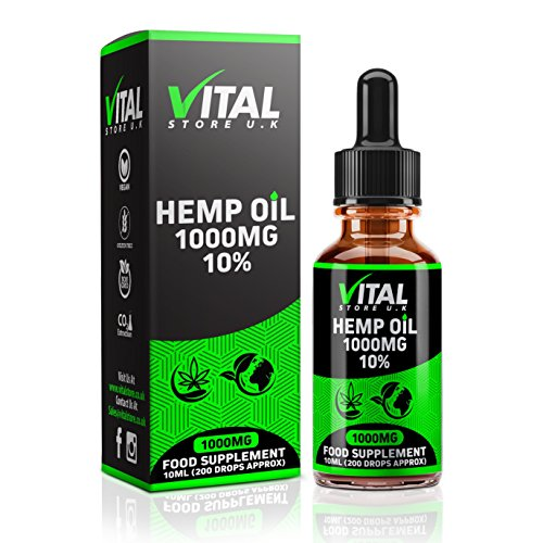 VITAL Hemp Oil Drops 1000mg 10% High Strength | 10ml | UK Manufacturer | Full Spectrum | Pure and Natural | C02 Extracted | Vegan & Vegetarian Friendly