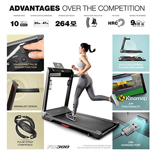 Sportstech-FX300-Ultra-Slim-Treadmill-Easy-Folding-No-Assembly-Huge-Running-Surface-510x1220mm-16-kmh-App-USB-Charger-Port-Tablet-Holder-folding-home-trainer-Pulse-Belt-compatible