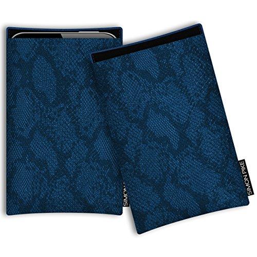SIMON PIKE Kazam Thunder 345 LTE Kunstleder Tasche Boston 01 in blau Schlange Kunstleder, maßgefertigt