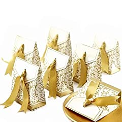 Idea Regalo - JZK 50 Oro scatolina bomboniera Scatola portaconfetti segnaposto per Matrimonio Compleanno Natale Battesimo Comunione Nascita Laurea