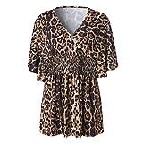 JUTOO Camiseta de Manga Corta con Cuello en Pico y Estampado de Leopardo para Mujer