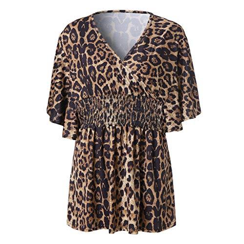 LILICAT T-Shirt Frauen Mode Casual Lässige Kurzarm V-Ausschnitt Leopard Bedruckt Top Bluse Kurzarm und Shorts Rückenfrei Zweiteilige Nachthemd Schlafanzüge Negligee Wäsche Set