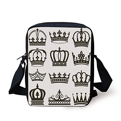 Tiara Sandwich (LULABE King,Symbol of Royalty Crowns Tiaras for Reign Noble Queen Prince Princess Cartoon Image Decorative,Dark Brown Print Kids Crossbody Messenger Bag Purse)