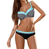 KEERADS BIKINI Damen Set Push Up Swimsuits Strand Badeanzug Badebekleidung Bademode (XL, Blau)