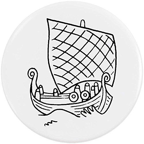 Azeeda 58mm 'Barco Vikingo' Insignia de Botón Pin (BB00034284)