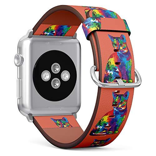 R-Rong kompatibel Watch Armband, Echtes Leder Uhrenarmband f¨¹r Apple Watch Series 4/3/2/1 Sport Edition 42/44mm - Cute Cat in Hippie Color Hippie Cat