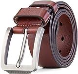 blasea Volles grano piel Cinturón beiläufige Jeans–Cinturón para hombre marrón Large