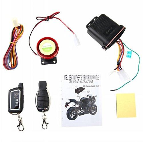 Farsler Motocicleta Alarma 12V 125dB Motocicleta Bidireccional Seguridad Anti-robo Remoto Vibración Sensor Sistema de Alarma Scooter Inmovilizador Sensor Inteligente Alarma Doble Control Remoto Motor Inicio Sirena