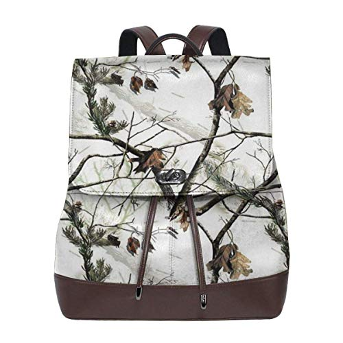Flyup White Realtree Camo Womens Leather Backpack Vintage Laptop Backpack Travel Daypack College School Bookbag For Women Girls & Students Frauen Leder Rucksack -