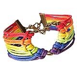Yogogo Regenbogen Flag Stolz LGBT Charm Herz geflochten Armband Homosexuell Lesbian Love Armbänder für Damen Frauen Mädchen