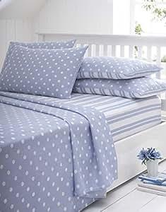 bleu taille bodmin drap en flanelle king size rayures et pois bleu blanc 4 pi ces comprend 1. Black Bedroom Furniture Sets. Home Design Ideas