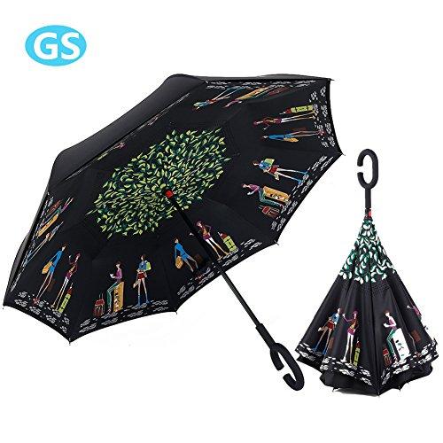 Paraguas Reversible, Invertido Prueba de Viento Doble Capa Manos Libres con Mango Forma de C Regalo Ideal Hombres Mujeres (Me Encanta Viajar)