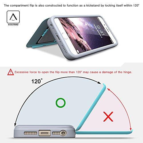 iPhone 6S Plus Hülle, TORU [CX PRO Case] [Portemonnaie] Handyhülle für iPhone 6S Plus Brieftasche Hülle - [Kartenfach][Ständer][Schutzhülle] Handyhülle mit verstecktes Spiegel - Gunmetal Weiß