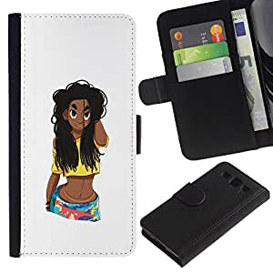 A-type (Grunge Beach Girl Ventre femme Cheveux longs) Colorful Impression Holster Cuir Wallet Cover Housse Peau Cas Case Coque Pour Samsung Galaxy S3 III I9300
