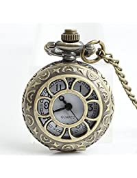 Sunflower Antique Copper Pocket Watches FOB Watches Men Women Gift With Chain High Quality